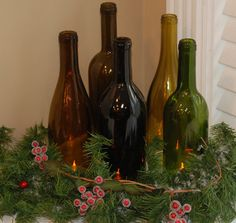Set of 5 Hand Cut Wine Bottle Hurricane Candles by aandkaccents, $40.00