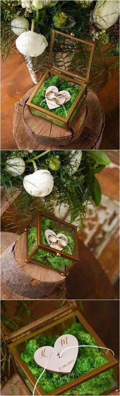 Rustic glass wedding ring box