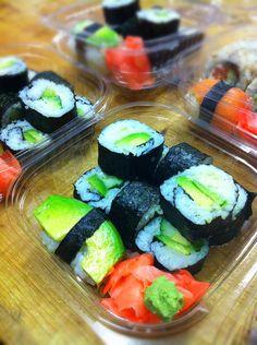 Avocado vegan sushi.