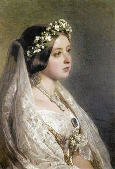 In Victoria commissioned Franz Xaver Winterhalter to paint a portrait of her wearing her wedding clothes as an anniversary present for Prince Albert. Queen Victoria Family, Queen Victoria Prince Albert, Victoria And Albert, Victorian Art, Victorian Fashion, Renaissance Kunst, Victoria Wedding, English Royalty, Jolie Photo