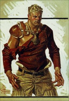 J.C. Leyendecker. His style was so bold, and the linework; original.