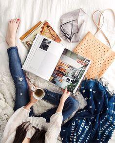 @newdarlings - tea in bed - @mooreaseal tote - indigo throw