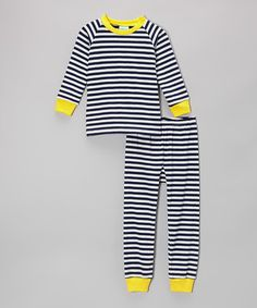 Navy & Yellow Stripe Pajama Set  by Cat & Cow