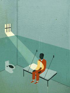 """Emiliano Ponzi: """"Unjust Justice"""", illustrazione per articolo sulla liberazione di Obie Anthony"""