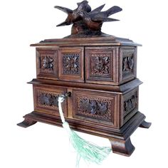 19th Century Jewelry Casket Game Birds Black Forest