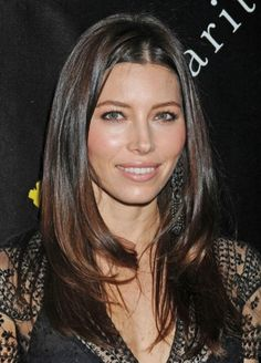 Jessica Biel Long straight hair styles with center part for women