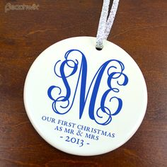 Monogram Our First Christmas Married Ornament Wedding Date