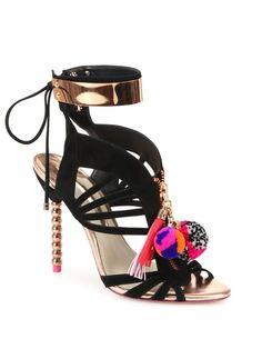 Yasmina Pom-Pom Suede Cage Sandals