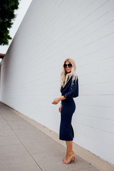 daad01cac03 lisa allen of salty lashes wearing a navy asos dress with stuart weitzman  nudist heels and
