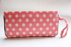 Wristlet Clutch Purse - Peach Pink Polka Dots by LovelyTurtle, $22.00