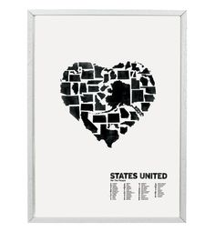 Designed by artist Gregory Beauchamp and printed in Delaware, the letterpress States United poster features to-scale state silhouettes in a heart shape as a gentle reminder to forget regional and political divides. $35