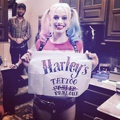 "Harley Quinn AKA actress Margot Robbie is now a tattoo artist. | Margot Robbie And Will Smith Gave Their ""Suicide Squad"" Castmates Tattoos"