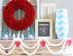 Valentine Decorating via @decor_chick with a chalkboard printable - love all the styling!