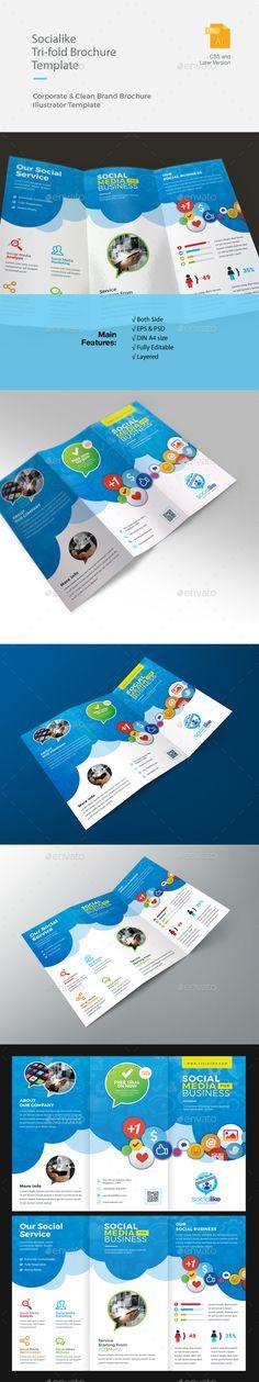 Social Media Trifold Brochure Template PSD, Vector EPS