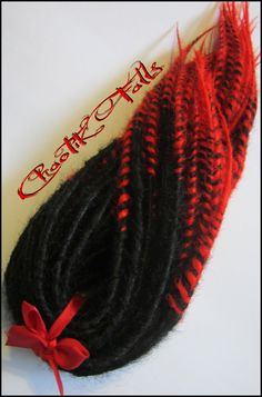 Fantastic red and black synthetic dreads by Chaotik Falls on Etsy.