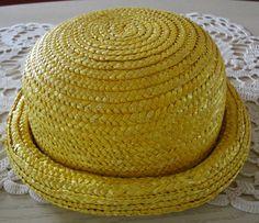 CHAPEAU DE PAILLE COULEUR JAUNE POUR ENFANT : Chapeau, bonnet par crochicrocha