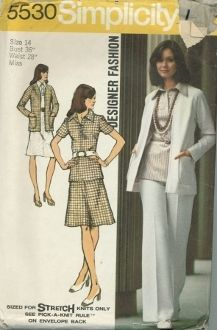 An original ca. 1973 Simplicity Pattern 5530.  Misses' Unlined Cardigan, Blouse, Skirt, and Pants... Designer Fashion (Sized for Stretch Knits Only):  The blouse with front button band closing has collar and short set-in sleeves. The skirt and pants have elastic waistline casing. Blouse, skirt or pants may be worn with purchased belt. The top-stitched unlined cardigan has long raglan sleeves and patch pockets.