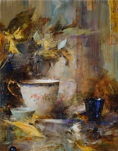 Arrangement in Blue and Yellow by Laura Robb Oil ~ 14 x 11