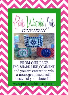 GIVEAWAY!  A Pink Wasabi Ink monogrammed cuff is up for grabs today!  Join us on FB for your chance to win!  facebook.com/pinkwasabiink
