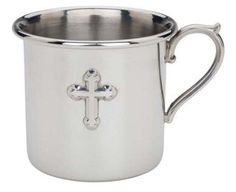 pewter baby cup w/ cross