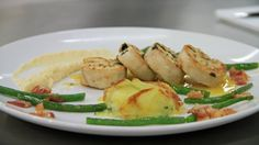 Stuffed ballotine of Chicken with potato + Courgette gratin, celeriac purée + green beans with smoked bacon - RTE Food