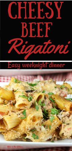 Cheesy Beef Rigatoni Recipe is an easy dinner for any night of the week. A cheesy sauce mixed with hearty pasta and delicious roast beef and it all comes together for a tasty casserole. Roast Beef Casserole, Beef Casserole Recipes, Roast Beef Recipes, Roast Beef Noodles, Beef Pasta, Pasta Meals, Dinner Dishes, Pasta Dishes, Main Dishes