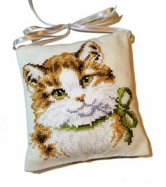 Completed finished cat cross stitch ornament Calico