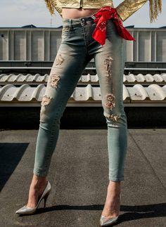 Pcube Blue Jeans Decorative - Fashion that Rocks Blue Denim Jeans, Light Colors, Patches, Capri Pants, Textiles, Pockets, Fitness, Black, Fashion