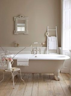 Love the wainscoting, mirror & ladder. Missing a chandelier!