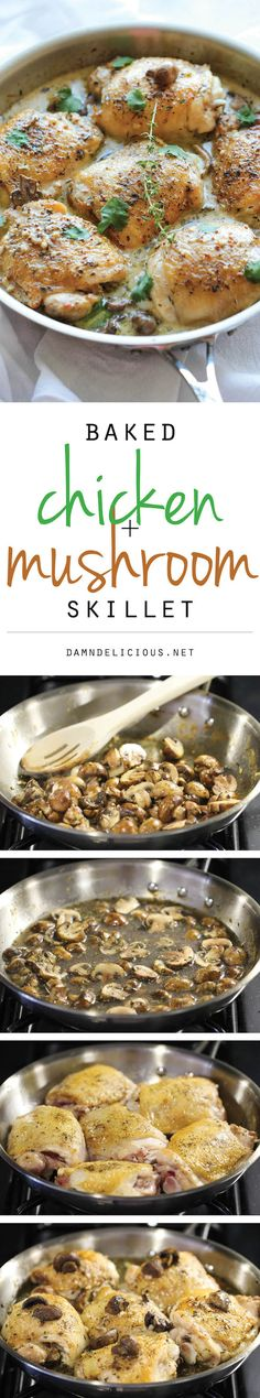 Baked Chicken and Mushroom Skillet - The most flavorful chicken topped with the creamiest mushroom sauce. An easy meal for those busy weekni...