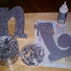 Rhinestoned letters! Easy to make :) no tut but how cute and caN add hairbow or headband streamers to it!