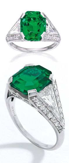 Cartier - An Art Deco Platinum, Emerald and Diamond Ring, New York, Circa 1933. Centring an emerald-cut emerald weighing approximately 4.06 carats, flanked by two triangle-cut diamonds weighing approximately 1.80 carats, the mounting further set with single-cut diamonds weighing approximately .39 carat, signed Cartier and numbered. PROPERTY FORMERLY FROM THE COLLECTION OF MATILDA DODGE WILSON. #Cartier #ArtDeco #ring