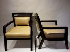 Pair of Vanguard Lounge Chairs w/ Tan Leather and Mahogany Finish    category:Seating  style:contemporary  designer:Modernism  Dimensions:W 26''  × H 32''  × D 23'' DNYC Price:Reduced to $1,399 (originally $1,600)