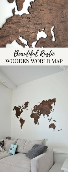 Love this rustic map, would look amaying in my living room! Also could be an excellent gift for family, friends or coworkers. it's a very stylish and original element of decor. #ad #affiliate #homedecor #wallart #map #traveling #wanderlust #etsy #shopsmall #smallbusiness