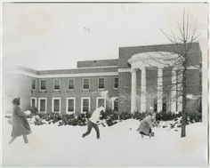 [Snowball Fight in Front of Library, 1960] :: UNCG University Archives