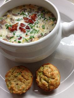 Jacques Pepin's Clam Chowder with small Oatmeal Breads. I added thyme and pancetta croutons to the soup recipe. Perfect on a cold winter afternoon.
