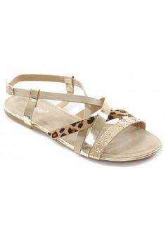 895610ee5d9908 Aspiga Cobra Leopard Ankle Wrap Toe Post Flat Sandal. See more. Designer  Desirables Gold Glitter   Leopard Strappy Flat Sandals Strappy Flats