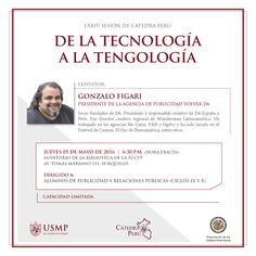 #Imperdible | Gonzalo Figari, uno de los publicistas más brillantes de la industria, nos visitará este jueves 5 de mayo para conversar sobre la influencia de la tecnología en el mundo de las comunicaciones. La cita es en el Auditorio de la Biblioteca.