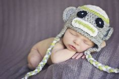 Baby Girl or Boy Sock Monkey Earflap Hat in Gray and Green Crochet Newborn Photo Prop Made to Order. $17.00, via Etsy.- Ashley