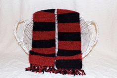 Angel Hair Red and Black Striped Scarf by StitchinGalTX on Etsy