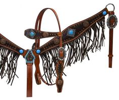 Saddles Tack Horse Supplies - ChickSaddlery.com Showman Antique Fringe Headstall, Reins, Breast Collar Set With Turquoise Stones