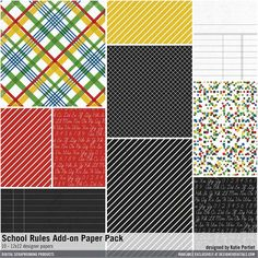 School Rules Add-On Paper Pack designs 12x12 patterns for back-to-school with notebook and penmanship and chalkboard style for card making and scrapbooking #designerdigitals