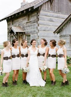 (Reusable dresses from a retails store) Country chic maids. H&M dresses/belts + Roper boots.