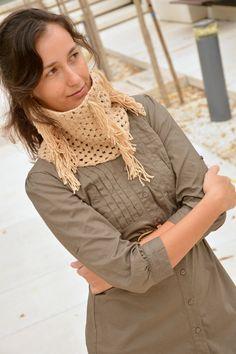 Circle scarves fringe beige neck crochet by SexyCrochetByOlga