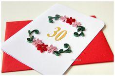 Grußkarte 30 50 Jubiläum Geburtstag mit Glassteine von Liebeabies auf DaWanda.com