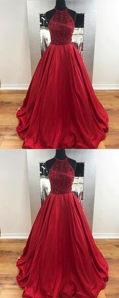 cb97d84bc413 Beaded Long Prom Dresses Red Evening Dresses A-Line Formal Dresses   fashion promdresses