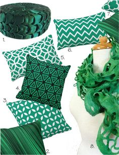 emerald green pillows