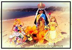 SANTA SARA KALI, por Marcio Jorge Galvão Origamus (Eu) - Niterói / RJ / Brasil Túnica com papel dourado com estampa do site Coisas de Pano e Papel http://www.coisasdepapel.com.br/estampas-para-imprimir/