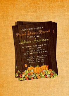 Rustic Fall Pumpkin Bridal Shower Invitation Wood Design Autumn Theme Printable and Custom