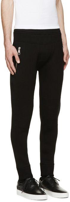 Neil Barrett Black Neoprene Slim Fit Sweatpants